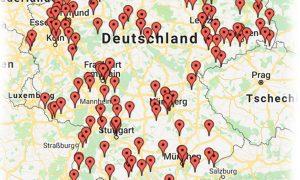 Deutschlandkarte mit Standorte der Kunden von SBK-Produkte Heiko Rether