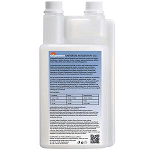 Produktbild Grisamethrin UNIVERSAL KONZENTRAT 1 Liter Dosierflasche, Etikett Blau Weiß, Rückseite