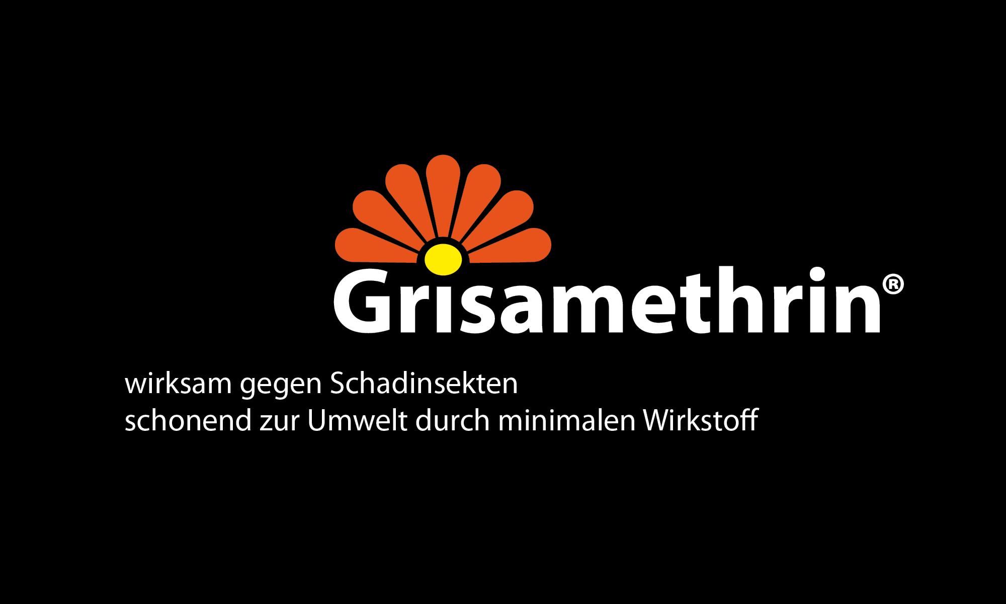 Logo Grisamethrin, weiße Schrift, orangene Blütenblätter auf schwarzem Hintergrund