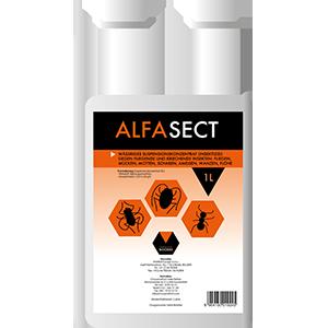 Ein Liter Dosierflasche ALFASECT in den Farben Orange und Schwarz